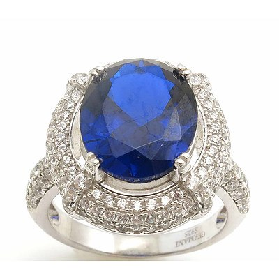 Sterling Silver Ring - Sapphire-Blue CZ, Pave Set with White CZ