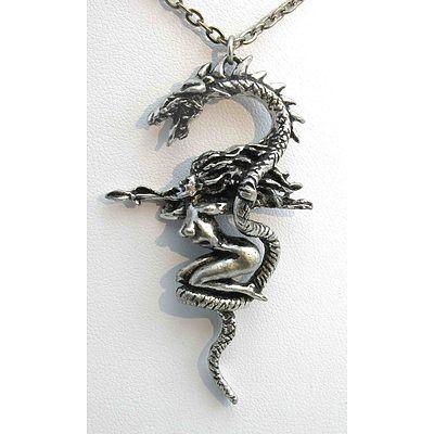 Large Pewter Dragon & Naked Female Warrior pendant