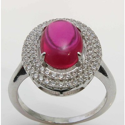 Sterling Silver Ring - Ruby-Red Cabochon CZ, Pave Set with White CZ