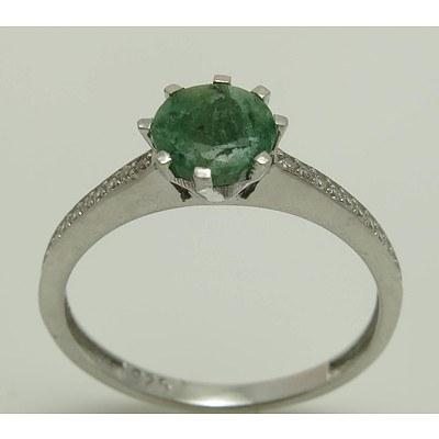 Sterling Silver Emerald & CZ Dress Ring