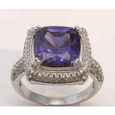 Sterling Silver Ring - Amethyst-Purple CZ, Pave Set with White CZ