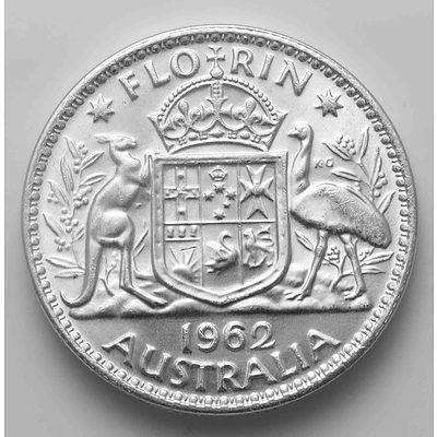 Australia Silver Coin: Florin 1962 (X1)