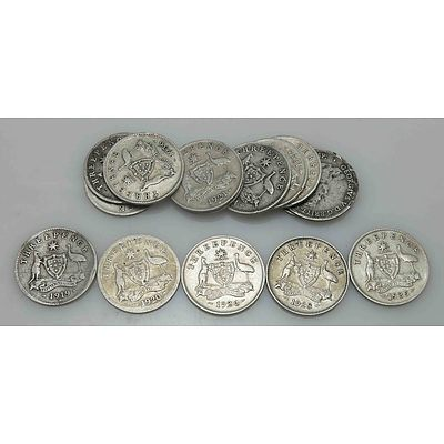 Australia Silver Coins: Collection Of Geo V Silver Threepences (X15)