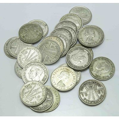Australia Silver Coins: Collection Of Silver Threepences (X29)