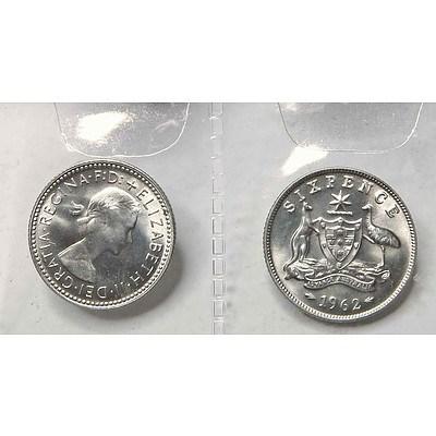 Australia Silver Coins: 1962 Sixpences (X2)