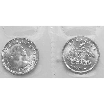 Australia Silver Coins: 1961 Sixpences (X2)