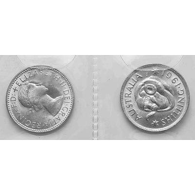Australia Silver Coins: Shillings 1961 (X2)