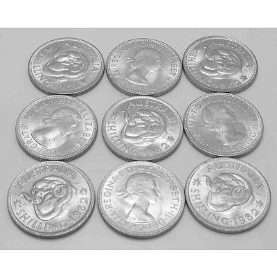 AUSTRALIA Silver Coins: Collection of Shillings 1962 (x9)