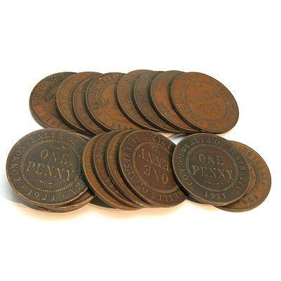 Australia: Geo V (1911-1936) Pennies X 20