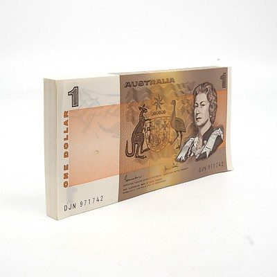 100 Consecutively Numbered Uncirculated $1 Johnston/Stone Paper Notes DJN971742-DJN971843