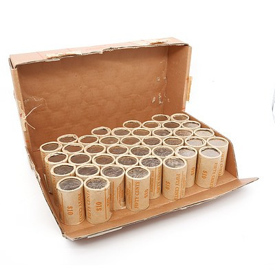 Forty Rolls of 1982 Brisbane Commonwealth Games Fifty Cent Coins with Original Box