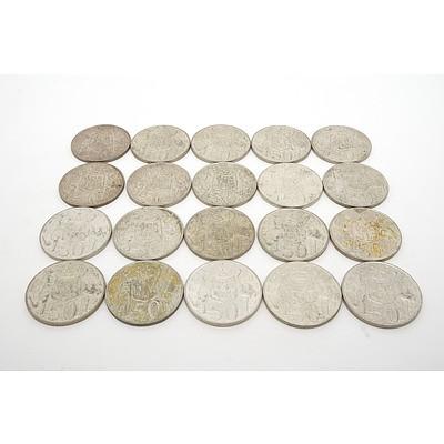 Twenty 1966 Circular Fifty Cent Coins