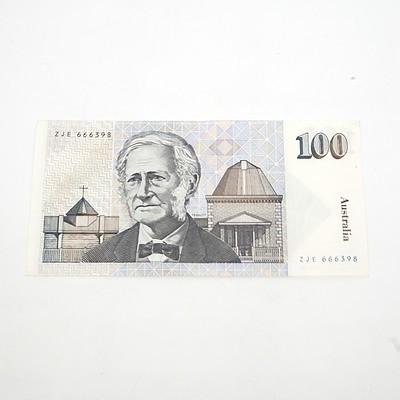 One Australian $100 Dollar Paper Note Tebutt/Mawson, ZJE666398