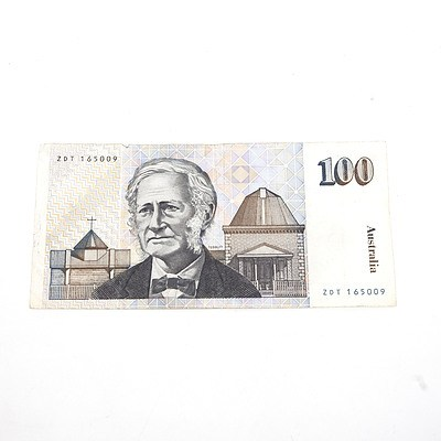 One Australian $100 Dollar Paper Note Tebutt/Mawson, ZDT165009