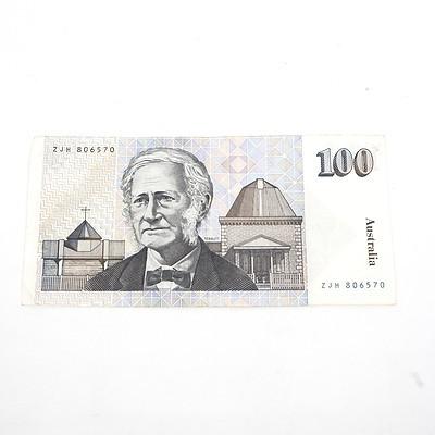 One Australian $100 Dollar Paper Note Tebutt/Mawson, ZJH806570