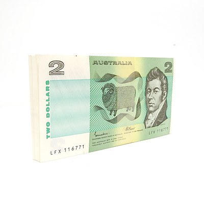 100 Consecutively Numbered Uncirculated $2 Johnston/Fraser Paper Notes LFX116771-LFX116870