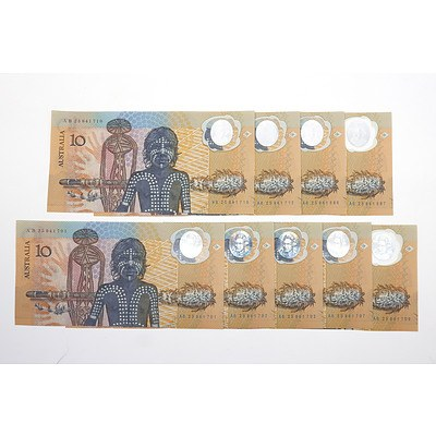 Nine 1988 Australian Polymer Bicentennial Commemorative $10 Notes, Consecutively Numbered Sets Including AB25941701-AB25941703