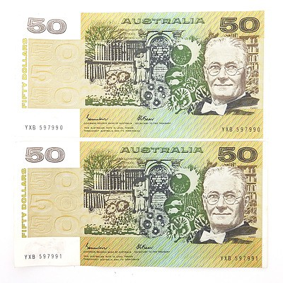 Two Consecutively Numbered $50 Johnston/ Fraser Paper Notes, YXB597990-YXB597991