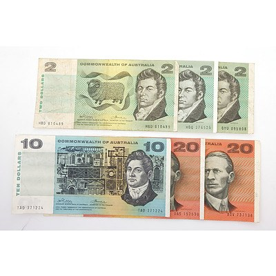 Six Commonwealth of Australia Paper Notes, Including Phillips/ Wheeler $20 XGV737136, Coombs/ Wilson $20 XAS157530