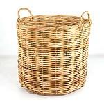 Large Vintage Wicker Basket with Loop Handles