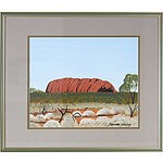 Bevan Young (Aboriginal dates unknown) Uluru, Oil on Canvas