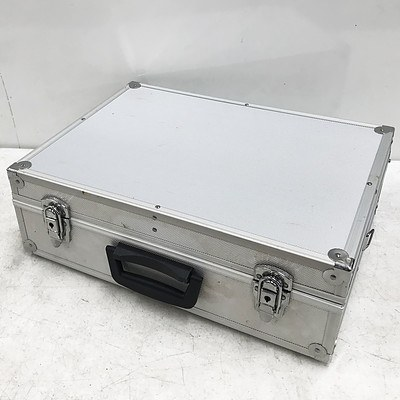 Large Metal Silver Brief Case and Contents