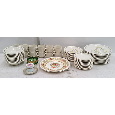60 Piece Forma Stone Teressita Hand Decorated Dinner Set, Aynsely Bone China English Cup, Westminster China Saucer, Old English Johnson Bros Plates, Tea Towels and More