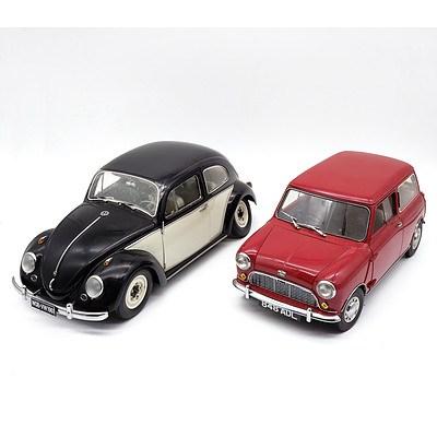 Sunstar - Volkswagen Beetle & Mini Cooper 1:12 Scale Model Cars - Lot of 2