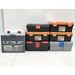 Lot of Seven Plastic Tool Boxes