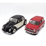 Sunstar - Volkswagen Beetle & Mini Cooper 1:12 Scale Model Cars - Lot of 2