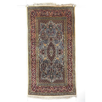 Eastern Hand Knotted Wool and Silk Blend Pile Rug, Probably Kashmir, Late 20th Century