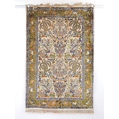 Kashmiri Hand Knotted Silk Pile Pictorial Tree of Life Rug, Late 20th Century