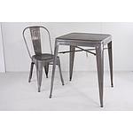 Del Terra Replica Square Retro Steel Table in Silver