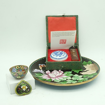 Chinese Cloisonne Plate, Cloisonne Heart-Shaped Pendant, Seal and More