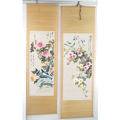 Two Chinese Bamboo Scroll Paintings