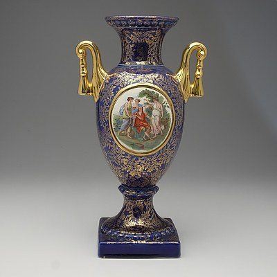 Empire Gilt and Transfer Printed Ceramic Mantle Urn