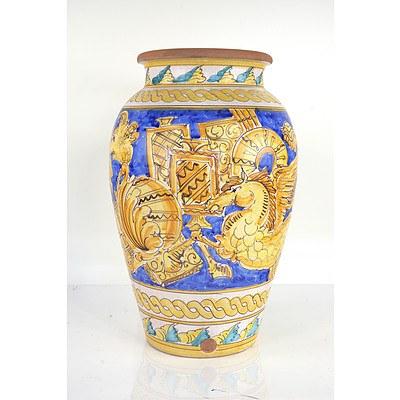 Mediterranean Style Hand Painted Ceramic Urn
