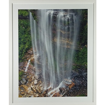 Large Framed Photograph of a Waterfall