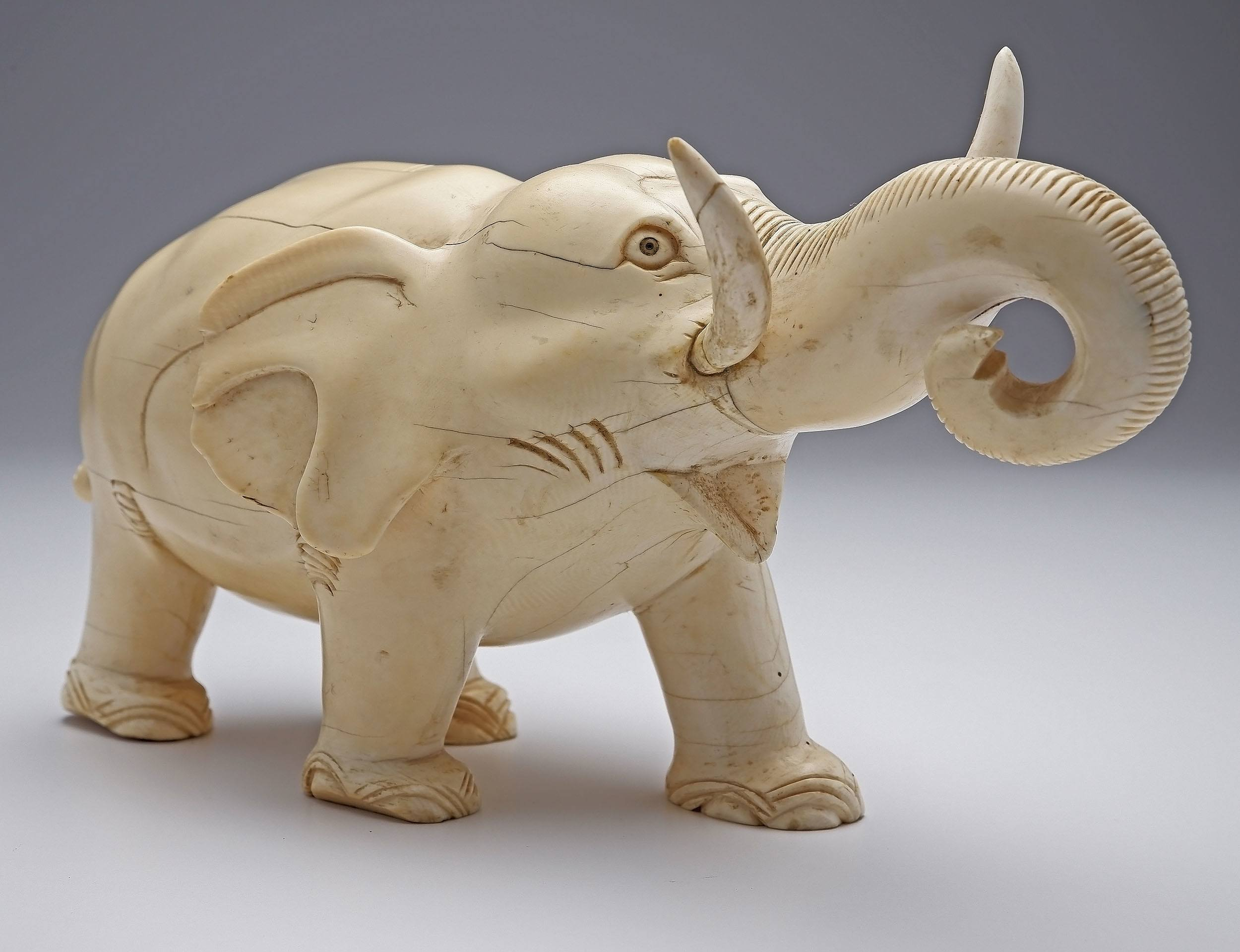 'Large Chinese Carved Ivory Model of an Elephant, Early 20th Century'