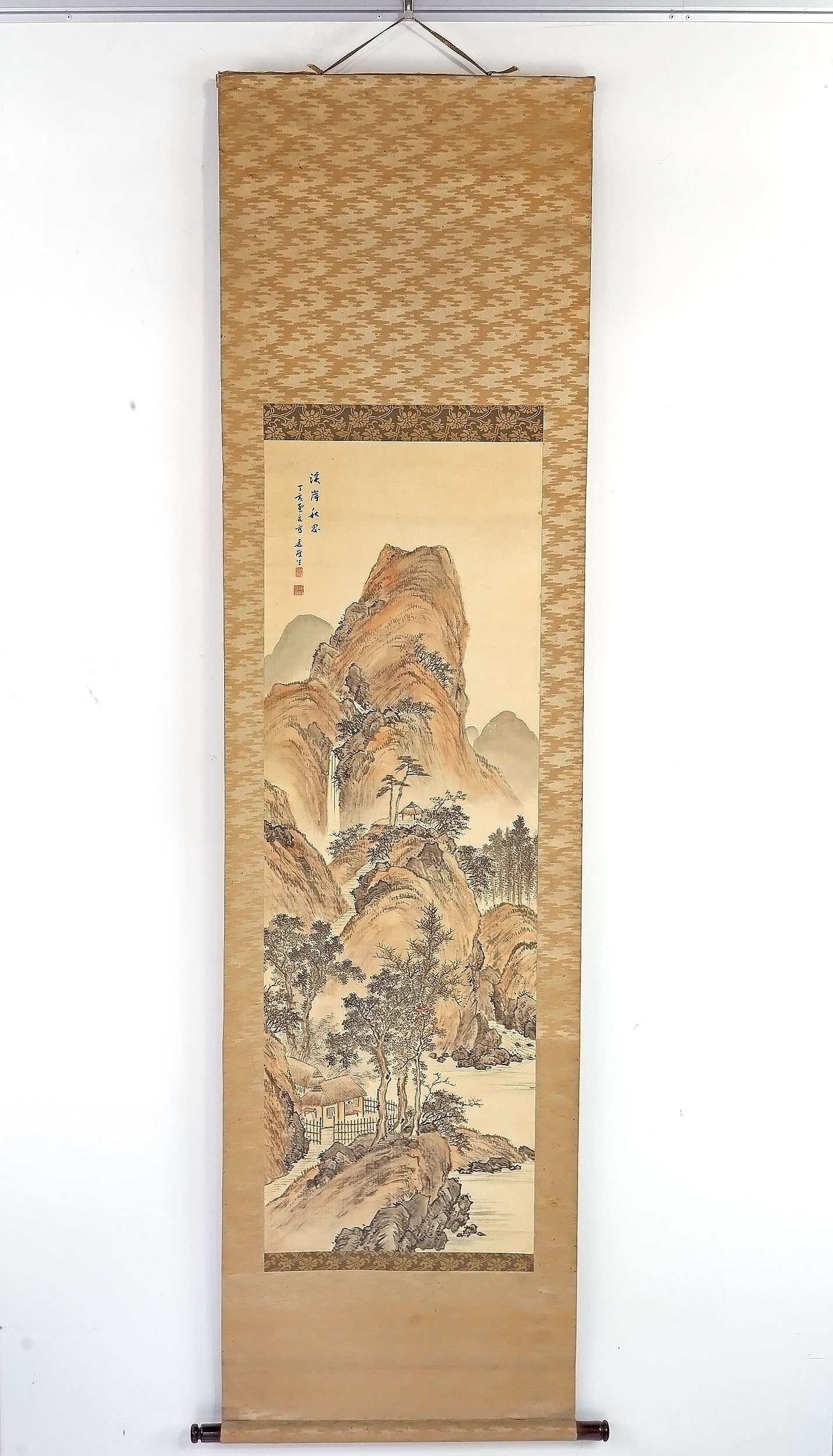 'Chinese Landscape Scroll Painting, Ink and Colour on Silk'
