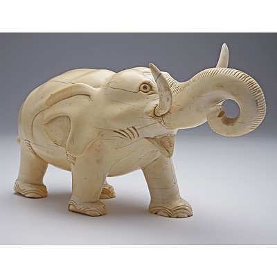 Large Chinese Carved Ivory Model of an Elephant, Early 20th Century