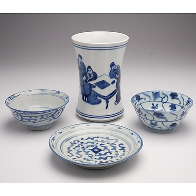 Three 19th Century Chinese Blue and White Dishes, and a Chinese Blue and White Brush Pot 20th Century