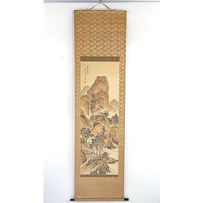 Chinese Landscape Scroll Painting, Ink and Colour on Silk