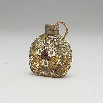 Vintage Perfume Bottle with Glass Gems, Painted Flowers and Gilt Brass Filigree