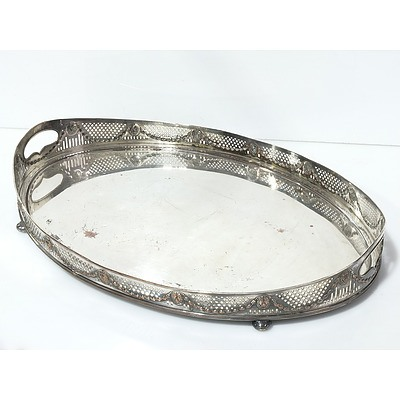 Silver Plate Butlers Tray with Pierced Lion and Wreath Gallery