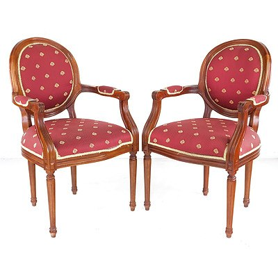 Pair of Red French Antique Style Chairs