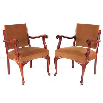 Two Vintage Armchairs with Velvet Upholstery and Cabriole Legs