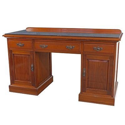 Edwardian Walnut Desk with Glass Top Circa 1910