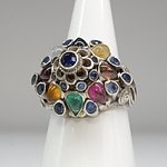 Asian Silver Ring with Multiple Cultured Gems in a Tiered Arrangement, Including Sapphire