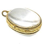 Antique 15ct Yellow Gold Locket with Colourless Glass, with Hand Engraved Frame